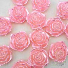50 pcs Pink Resin Cabochon Rose Flatback ForHair Bow Center Craft Embellish 15MM