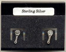 Tennis Racquet Sterling Silver 925 Studs Earrings Carded