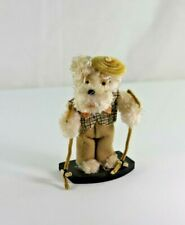 Vintage Japanese Chenille Googlie Eye Scotty Poodle Dog Figure Dapper Skier