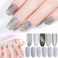 Nail UV Gel Polish Silver Holographic Sequins Glitter Shine Soak Off Gel Varnish