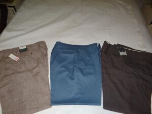 3 lot Pair of Men's Casual Dress Tan Brown Blue Slacks  HAGGAR  Tags 34L x 36W