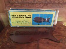 Vintage Wood Wall Fishing Rod Holder With Original Box Fish Shaped