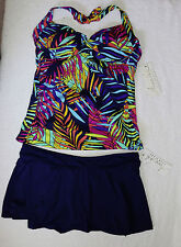 Anne Cole Skirted Halter Underwire Tankini Size 40B/C cup/14  Navy Skirted sz XL