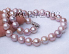 genuine cultured pearl 11-12mm natural purple round Freshwater Pearl necklace