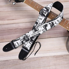 Black white Soft Leather thick Strap For Electric Acoustic Guitar Bass adjustabl