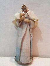 ancienne statue vierge marie de creche en cire epoque 19 eme