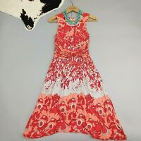 Anthropologie Lilka Coral Gardens Floral Print Dress Size XS Red Sleeveless
