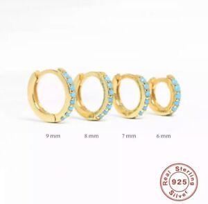 Tiny Gold Huggie Turquoise Hoop Earrings,S925 Silver Earrings Minimalist Hoops