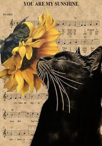 BLACK CAT SUNSHINE * LARGE A3 SiZE QUALITY CANVAS ART PRINT