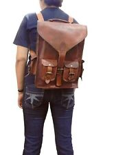 "15"" Prime Leather Backpack Vintage Messenger Shoulder Bags Laptop Bag Satchel"