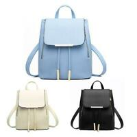 Women Backpacks Solid School Bag For Teenage Girls PU Leather Travel Bags P4PM