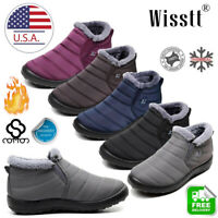 Women Winter Snow Boots Waterproof Plush Lining Flat Ankle Thickening Shoes Size