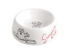 Simon's Cat Ceramic Food Water Bowl Dish White and Red Kitten Treat Feeder