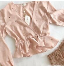 FOR LOVE AND LEMONS TWINKLE BABY PINK SATIN RUFFLE GOLD STAR BLOUSE NWT S $221