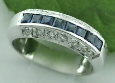 14k Solid White gold Natural Blue Sapphire & Diamond ring 1.15 ct band
