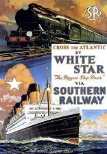 White Star Line Southern Railway cross Atlantic Poster
