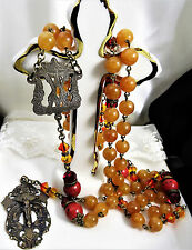 Beautiful Orange, Coral, Red Bronze heirloom Adoration Angel Rosary Beads