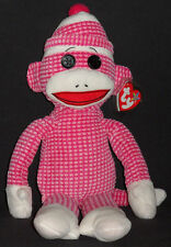 """TY SOCKS the PINK QUILTED SOCK MONKEY BUDDY - MINT with MINT TAG 16"""""""
