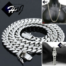 "30""MEN Stainless Steel 12mm Silver Diamond Miami Cuban Chain Bracelet Necklace"