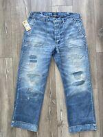 $248 Polo Ralph Lauren 1967 Field Hand Repaired Denim Jeans  38x32