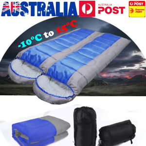Twin Camping Envelope Sleeping Bag Double Thermal Tent Hiking Winter -10°C