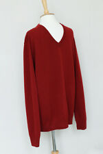 HERMES burgundy 100% cashmere v-neck ribbed knit pull jumper sweater XXXL Italy