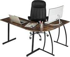"GreenForest L-shaped corner gaming computer desk brown 58.1"" for home office"