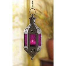 4 Hanging Candle Lantern Mystical Moroccan Style  w/ Purple Pressed Glass
