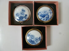 Blue and White Chinese Flowers Design Compact with Magnifying Mirror 3 Designs