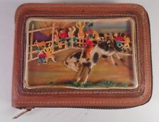 1940's - 50's Child's Western Leather Zippered Lambskin Wallet Nash Inc Mini Bk