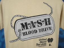 vintage 80s M.A.S.H. BLOOD DRIVE PAPER THIN T-Shirt LARGE tv show dog tag army