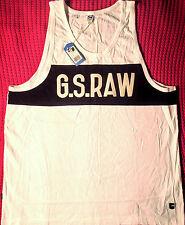 NEW - NWT - RRP$99- Mens Stunning G-Star Raw White 'RS MERCKX R SINGLET' Singlet