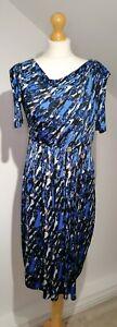 Ingenue Onjenu UK 10 Blue Abstract Pattern Rouche Sleeve Faux Wrap Dress Stretch