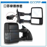 For 99-07 Ford Super Duty Side Mirrors Power Heated Led Smoke Signal Towing Pair