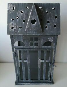 Grey/Black  Metal House Christmas T Light/ Candle Lantern 39cm