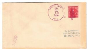 US 1930 Fancy Cancel Bell in Red Ink New Lenox, IL Sc#688