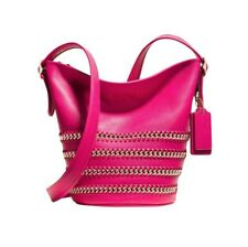 New Ruby Pink Coach whiplash leather duffle bag RRP £445