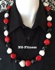 Hawaii Wedding Solid WHITE RED BLACK Kukui Nut Lei Graduation Luau Necklace NWT