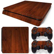 Sony PS4 Playstation 4 Slim Skin Aufkleber Schutzfolie Set - Wood 3 Motiv