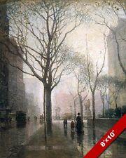 THE PLAZA AFTER RAIN OIL PAINTING BY PAUL CORNOYER ART REAL CANVAS GICLEEPRINT