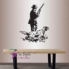 Vinyl Decal Retro Hunting Hunter and Dog Man Shotgun Riffle Wall Sticker 1463