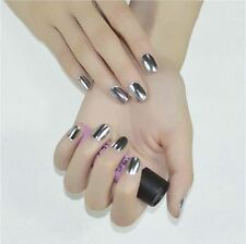 16pcs Texture Nail Art Foil Decal Patch Wrap DIY MINX Decoration Beauty Silver