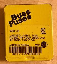 Bussmann ABC-3 3 Amp Fast Acting Ceramic Tube Elect.Fuse, 250V 5- In Tin UL List