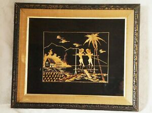 Vintage Framed Asian Art, Bamboo Leaf, Rice Straw, Mid Century, Dated, 1960's