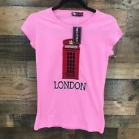 New G-Crown Women's Pink British London Telephone Booth Tardis Shirt Size Small