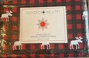 Nordic North Buffalo Moose QUEEN Sheet Set Flannel Red, Black Plaid Cabin Lodge
