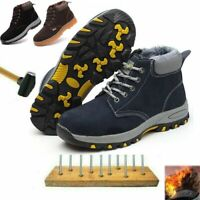 Men Winter Safety Work Boots Fur Lined Thick Steel Toe Cap Shoes Hiking Trainers