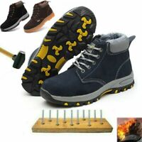 Mens Winter Safety Ankle Boots Fur Lined Work Outdoor Walking Hiking Snow Shoes