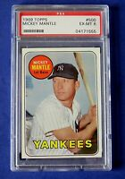 1969 TOPPS MICKEY MANTLE BASEBALL CARD #500 Yellow Letters ~ PSA 6