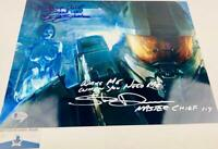 Steve Downes Jen Taylor DUAL signed Master Chief Cortana 11x14 photo BAS H32460